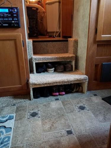 RV shoe storage idea: stairs turned backward