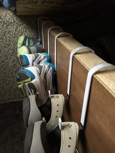 RV shoe storage idea: over door hooks along side of bed