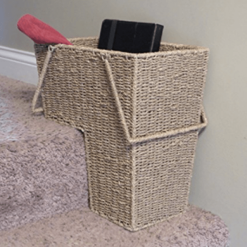 RV shoe storage idea: Household Essentials ML-5647 Seagrass Wicker Stair Step Basket with Handle - Natural Brown