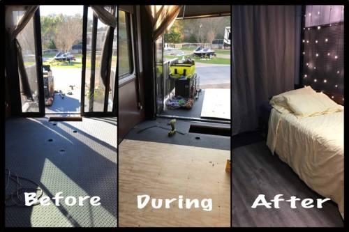 Flooring added to toy hauler