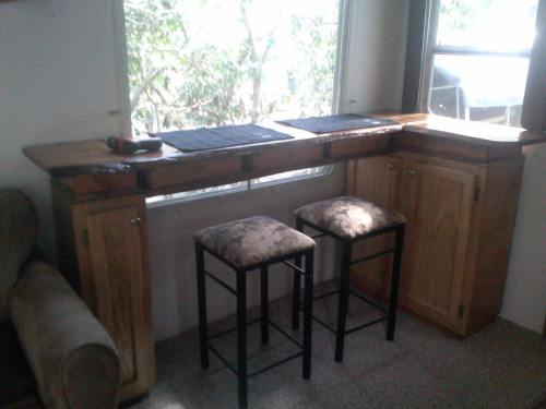 Bar table and storage added after dinette booth removed from camper | RVs, campers, travel trailers, and motorhomes without the dinette booth