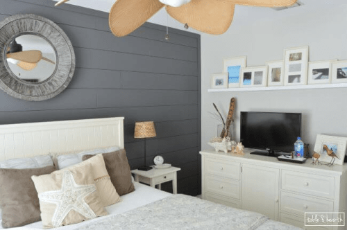 blue gray shiplap wall