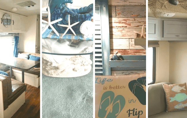 These RV owners have created a seaside paradise that can travel with them wherever they go. Take a look at their photos to inspire your own beach or nautical themed decor.