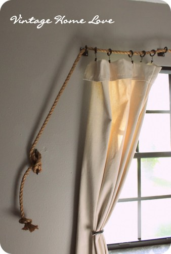 drop cloth curtains hung on rope
