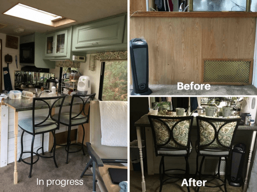 Removed dining booth and added bar seating to add extra space to RV | RVs, campers, travel trailers, and motorhomes without the dinette booth
