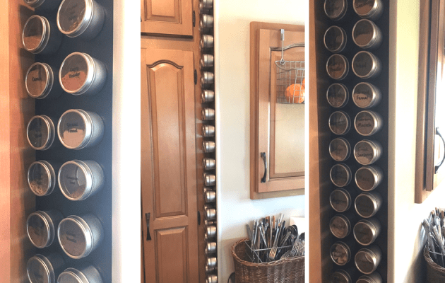 How to make a DIY magnetic wall for metal spice tins to stick to - idea for organizing an RV, camper, motorhome, or small apartment.