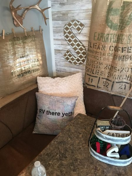 Cheap and DIY RV window idea: No-sew curtains made out of burlap coffee or feed sacks