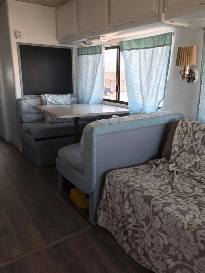 Cheap And DIY RV Window Idea No Sew Curtains Made Out Of Bed Sheets