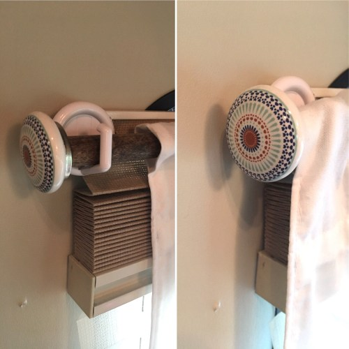 DIY curtain rods made from dowel rods and drawer pulls and hung with Command hooks | RVinspiration.com #camper #motorhome #traveltrailer #RV