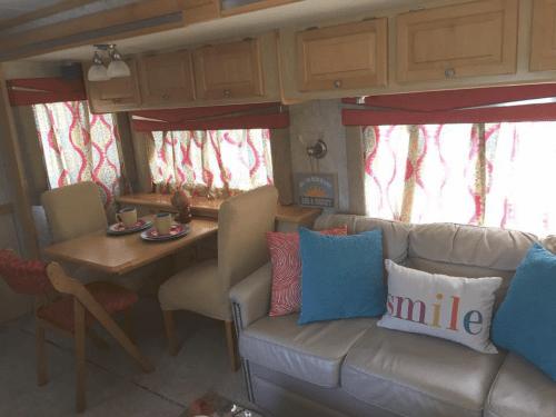 RV window treatment makeover idea: painted valances / cornices