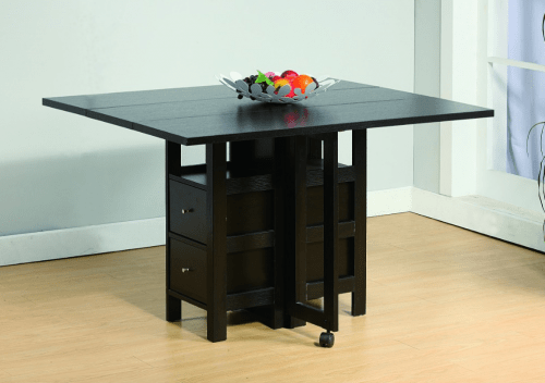 Drop leaf dining table with storage for motorhomes, campers, and travel trailers | RV furniture