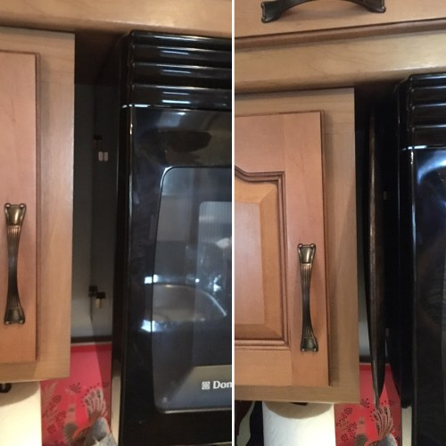 Pizza pan storage on side of microwave using magnets | RVinspiration.com