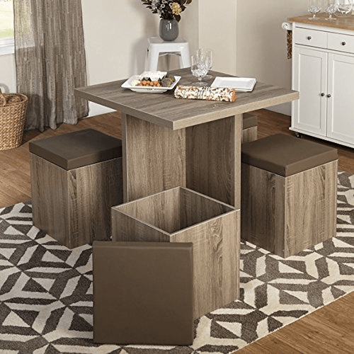 Dining table with storage ottoman seats for motorhomes, campers, and travel trailers | RV furniture