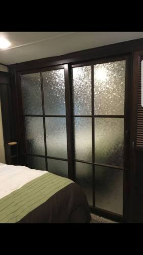 Window film makeover for mirror closet sliding door in RV, camper, motorhome, or travel trailer