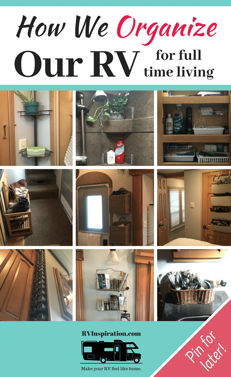 """In this """"tour"""" of our #RV I share some of the ways I've organized our #fifthwheel #camper for full time living!"""