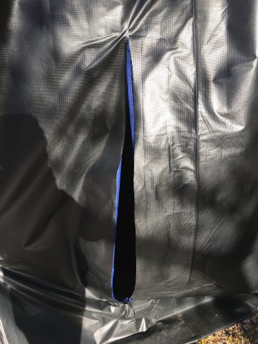 Zipper made from garment bag added to RV skirting