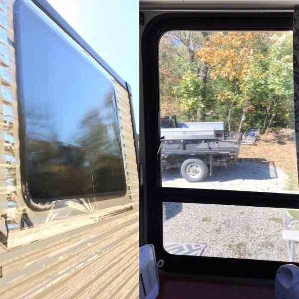 Plastic covering the outside of RV windows attached with HVAC tape by Deenise Thorsen