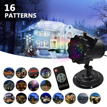 LIFU Christmas Lights Projector - 2017 Upgrade Version 16 Patterns LED Projector Landscape lamp Remote Control and Waterproof Perfect for Halloween or Christmas from Amazon.com