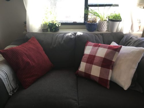 Throw pillow covers are an easy and space saving way to create a fresh look and decorate a camper or motorhome for any holiday or season