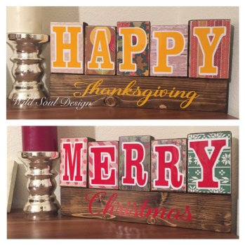 Reversible holiday sign from WildSoulDesign Etsy store