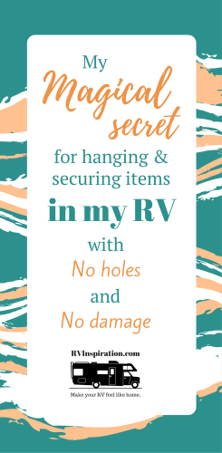 The best strong, removable, repositionable, weather-proof adhesive for to hanging decor on a wall or secure items during travel in a camper, motorhome, or travel trailer is acrylic mounting tape. Easy to remove with no damage.