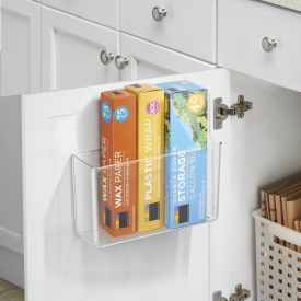 Adhesive acrylic caddy for kitchen or bathroom storage or organization - wrap holder