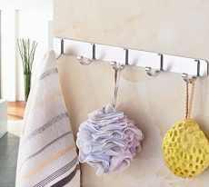 Adhesive hook for kitchen utensil storage, bathroom organization, jewelry, key storage, etc.