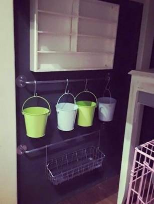 Baskets and buckets hung from rods / bars with S hooks as kitchen or bathroom storage and organization