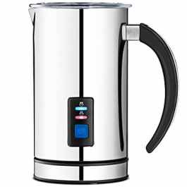An electric milk frother can be used to make lattes or hot chocolate at home.