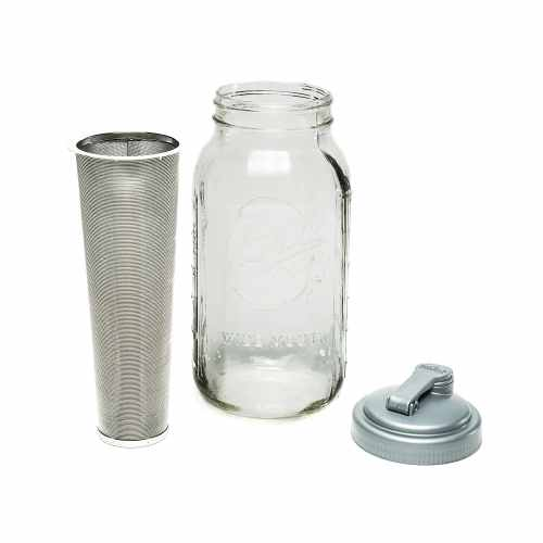 Filter and spout for making cold brew coffee in a Mason jar