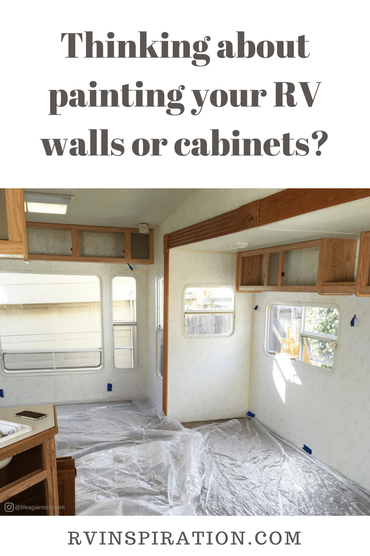 Free PDF download with tips, hints, and tricks for how to paint walls and cabinets in your camper, motorhome, or travel trailer.
