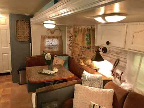 Camper with Farmhouse style decor by Brooke Seaman