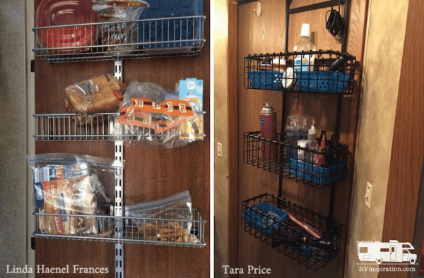Metal organizers can be hung on doors to add storage space to an #RV that doesn't have a pantry. #motorhome #camper #traveltrailer