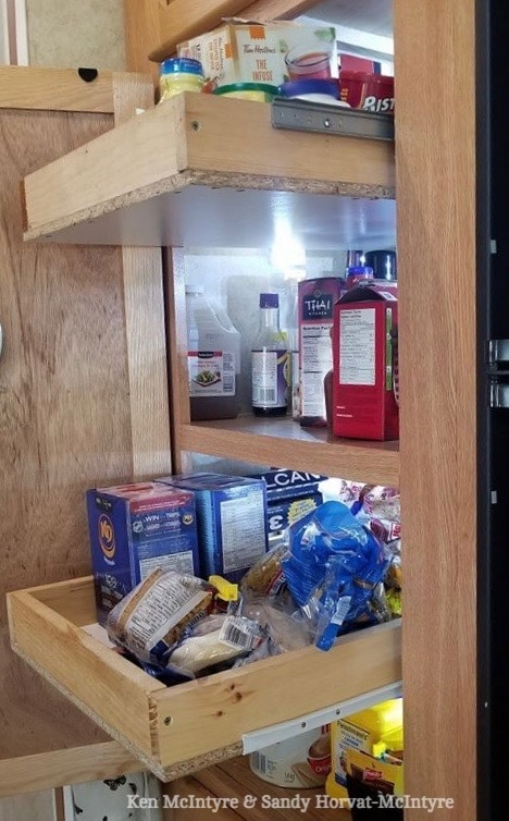 DIY wooden pull out shelves made for an #RV kitchen pantry cabinet #motorhome #traveltrailer #camper