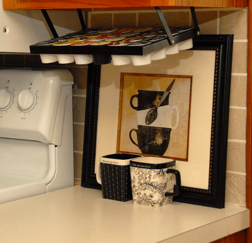 Keurig accessories - under cabinet kitchen K-cup storage idea