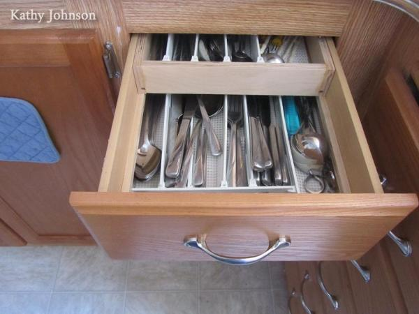 Organized drawer in an RV kitchen