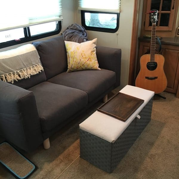 Replaced pull out inflatable #RV sleeper #sofa with love seat from Ikea   rvinspiration.com
