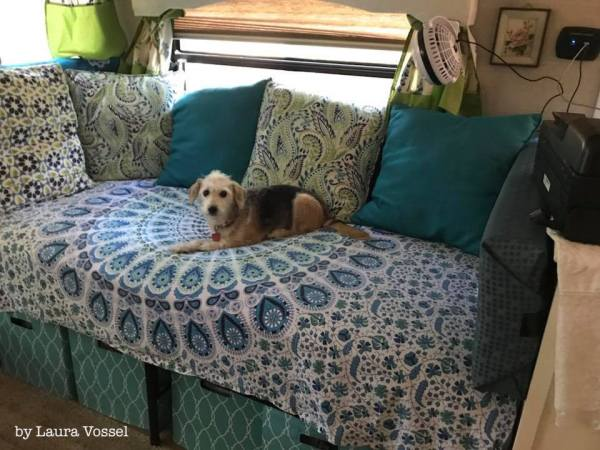 Twin bed used as sofa in #RV