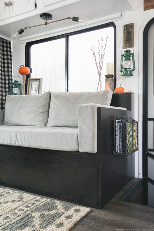 Rustic modern DIY sofa with storage by ModernMountainLife.com