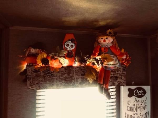 Travel trailer decorating idea for Halloween decor by Diane Flowers Williams