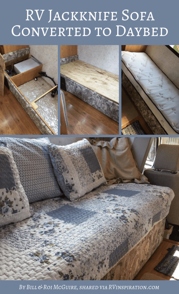 Jackknife Sofa Turned Into Custom Daybed by Bill and Roi McGuire | RVinspiration.com