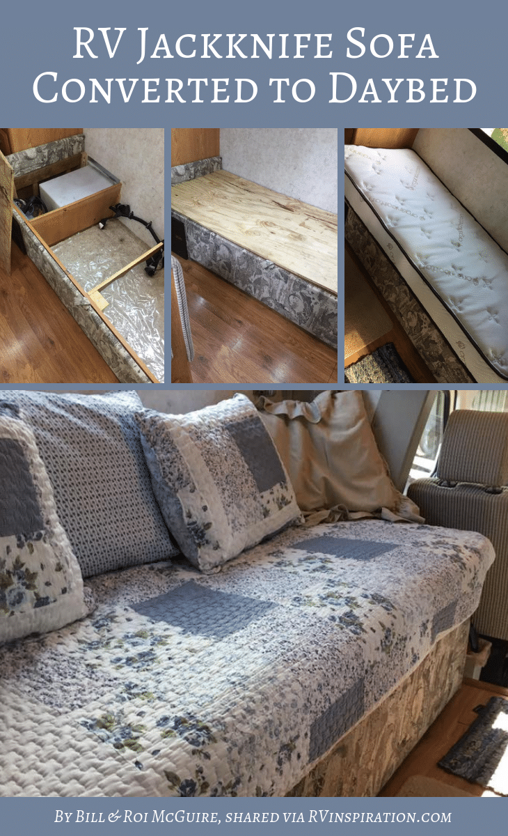 Merveilleux Jackknife Sofa Turned Into Custom Daybed By Bill And Roi McGuire |  RVinspiration.com