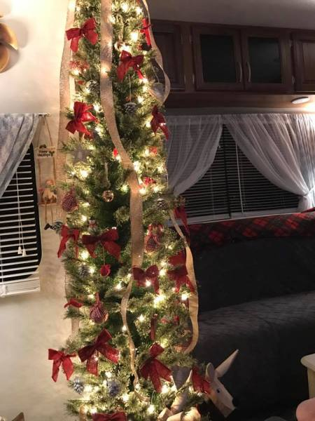 Christmas tree in camper owned by Bobbi Gearhart
