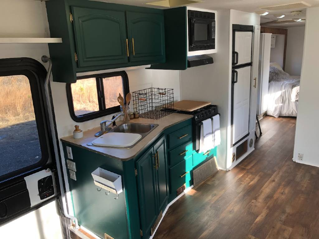 RV kitchen cabinets painted teal