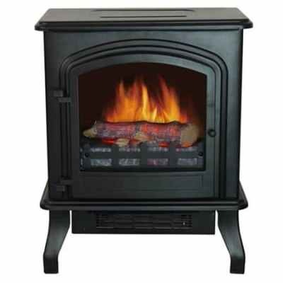 Electric space heater that looks like a fireplace or wood stove