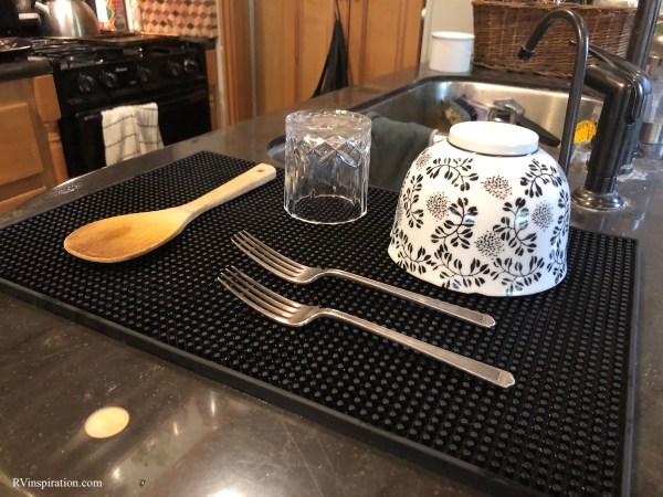 Dish drying mat in my RV kitchen