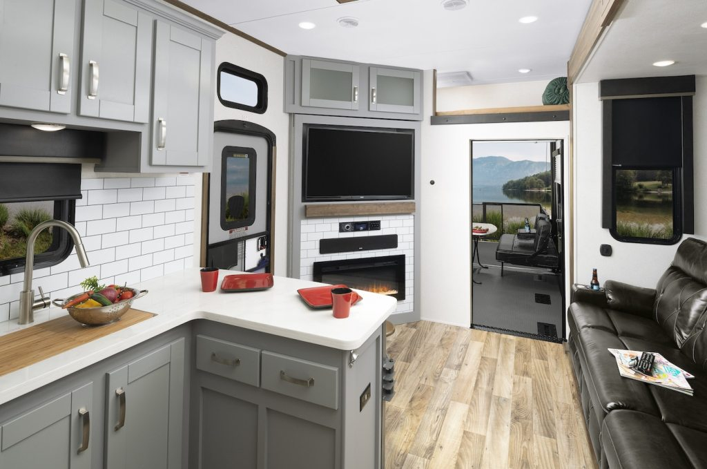 Cabinets painted gray in Keystone Fuzion Toy Hauler