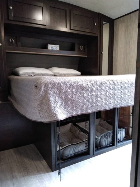 Dog kennel built under RV bed