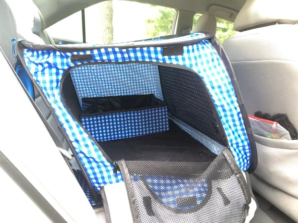 Cat enclosure with litter box for back seat of car