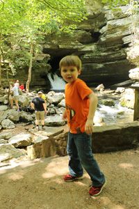 Timothy at Blanchard Springs, the River from the Cave's Lower Level Exiting as a Spring